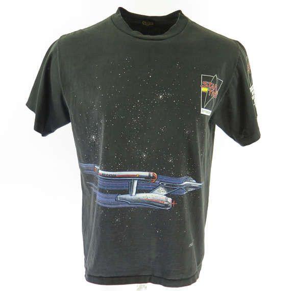 Vintage 90s Star Trek T-Shirt XL 25th Anniversary TV Show Enterprise Black [H58M_0-10]
