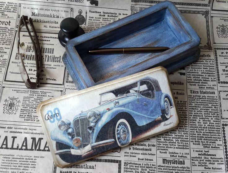 """Купить """"Ретро-автомобиль"""" Купюрница-шкатулка для мужчин - Декупаж, купюрница, шкатулка-купюрница, синий, деньги"""