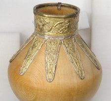 Replica large bottle with mount from Sutton Hoo.: Straps Mount, Images Galleries, Sutton Hoo, Garnet Sets, Mushrooms Shapes, Replica Large, Exhibitions Loan, Large Bottle, Cloisonn Garnet
