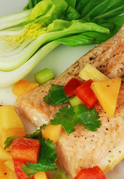 Roasted Salmon with Melon Salsa - recipe for healthy eyes #healthy eyes #roastedsalmon