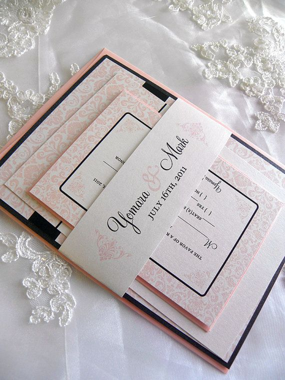 Damask Wedding Invitations In Pink Black Or Any Color Layered Invitation Style With Without Envelope Liner By Citlali Creativo