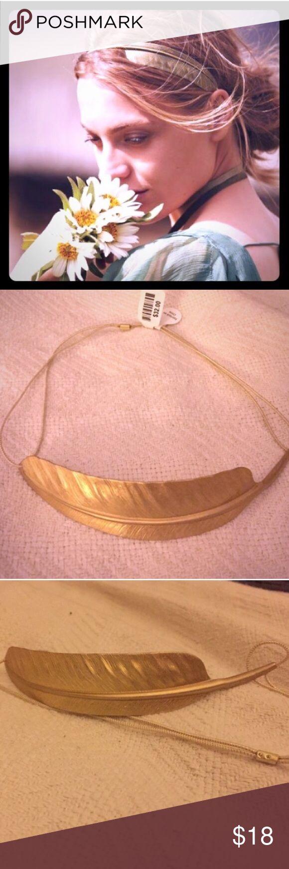 "Anthropologie Arc feather metallic headband (gold) Metallic feather; doubled, thin elastic band. Feather is 1"" wide. Anthropologie Accessories Hair Accessories"