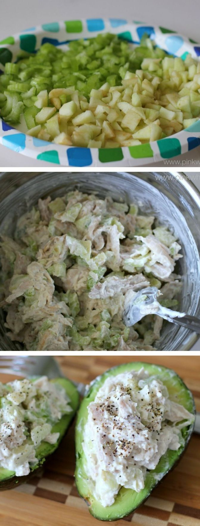 A healthier version of chicken salad with apples and celery. [and in an avocado? I'm there. jh]