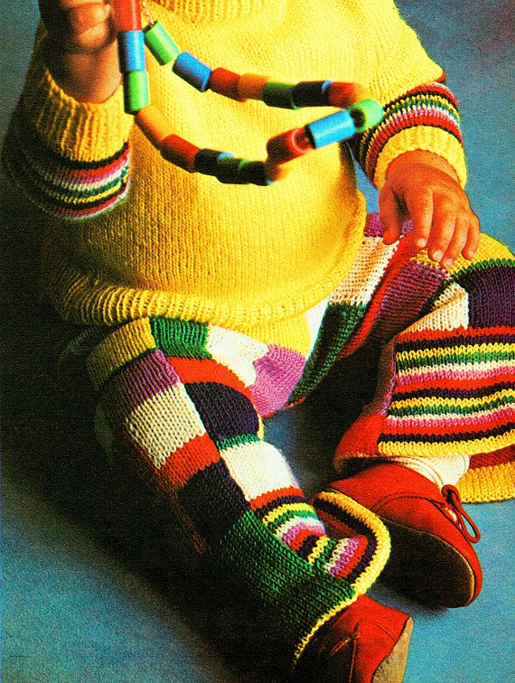 PDF Vintage Baby Knitting Pattern PATCHWORK Flare Trouser Suit