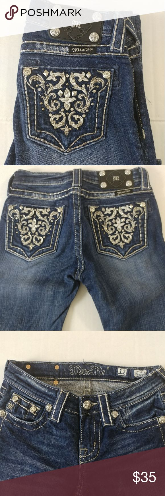 Miss Me Boot Cut Jeans Girls Sz 12 Nice bling preowned jeans! I ship same or next day fast!! Miss Me Bottoms Jeans