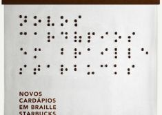 Starbucks menu in braille made from coffee beans...yes.