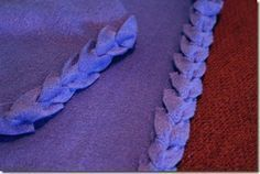 Easy No Sew Fleece Blanket Edging - looks better than the tied kind