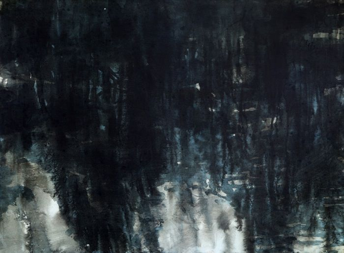 "Janicke Schønning - Spring: ""While the children sleep"" - Spring night by the river, ink and gouache on paper 2013"