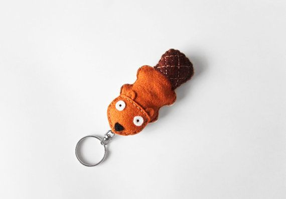 Beaver keychain plush cute animal key ring by InspirationalGecko