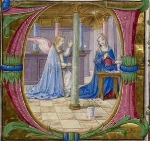 Annunciation. This colourful manuscript dates from the late fifteenth century, and is a missal created for Cardinal Domenico della Rovere. Image source: British Library MS Additional 16914.