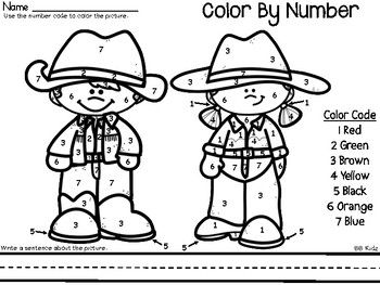 Color By Number Rodeo {Western Animals/ Farm} Kindergarten
