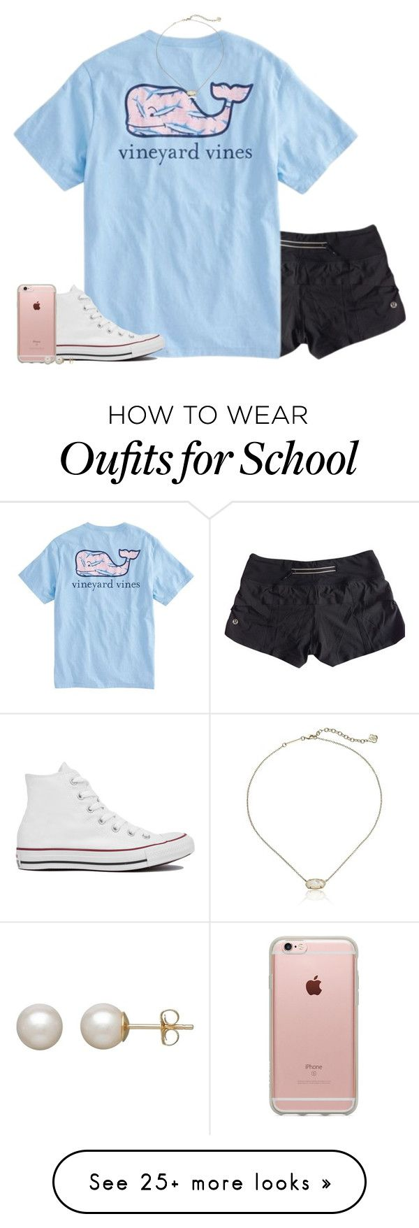 """every girl at my school"" by conleighh on Polyvore featuring lululemon, Vineyard Vines, Converse, Incase, Honora and Kendra Scott"