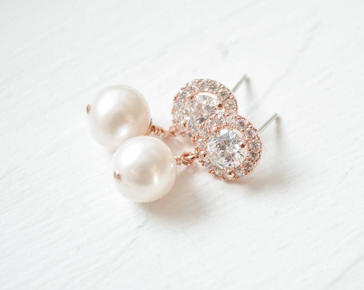 Sarah Walsh - Rose Gold Pearl Drop Earrings