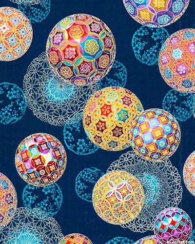 """""""Temari Ornaments"""" in indigo + silver -- from the """"Christmas in Kyoto"""" 2012 fabric collection by Robert Kaufman"""