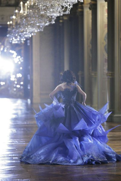 dramatic gown, dramatic chandeliers