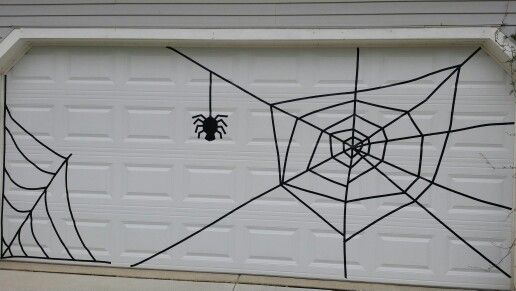 Halloween garage door spiderweb