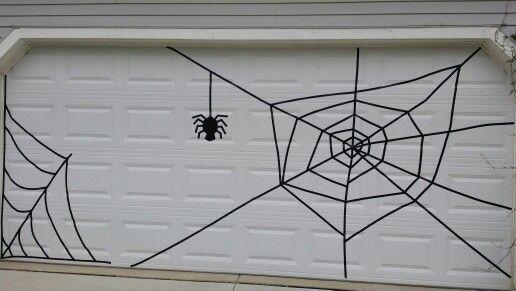 Halloween garage door spiderweb