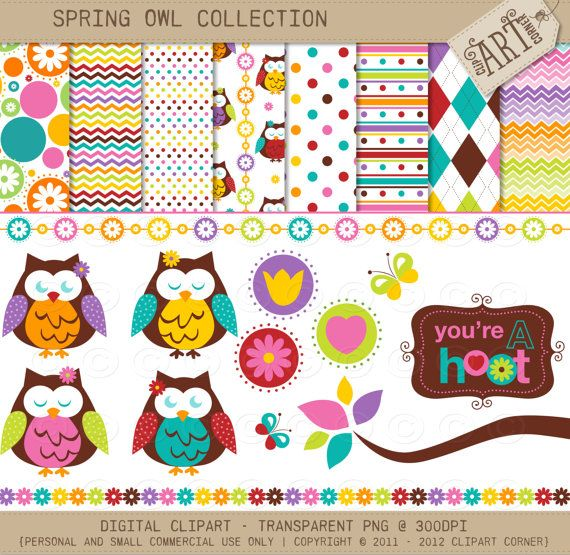 Digital Paper Clipart combo Owls in Spring by ClipArtCorner Pin++ for Pinterest