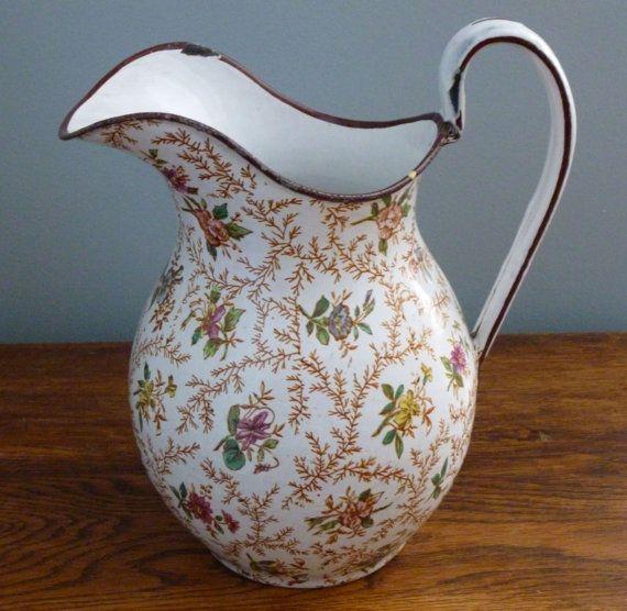 Gorgeous French Farmhouse Enamelware Floral Pitcher Vintage