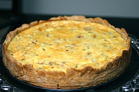 Caramelized Pear, Pancetta, and Gorgonzola Quiche
