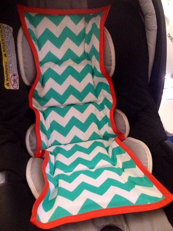 Car seat cooler- Teal chevron and orange trim - cool the chair prior to inserting the baby #carseats #coolcarseat