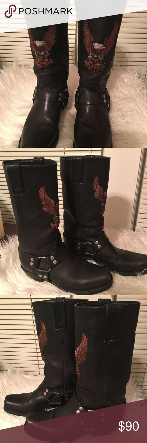 Harley Davidson Black Biker Boots with logo . Women's Black boots with logo .This is an awesome boot . A very comfortable boot and lightly worn. Harley-Davidson Shoes Combat & Moto Boots