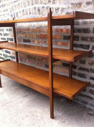 Narrow Mid Century Modern Bookcase Console Table