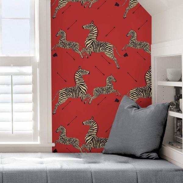 Scalamandre Masai Red Zebra Safari Self Adhesive Wallpaper Scs3869 The Home Depot Zebra Wallpaper Self Adhesive Wallpaper Iconic Wallpaper