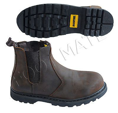 Mens #brown #leather ankle chelsea #dealer steel toe cap safety work boots shoes ,  View more on the LINK: 	http://www.zeppy.io/product/gb/2/252418186832/