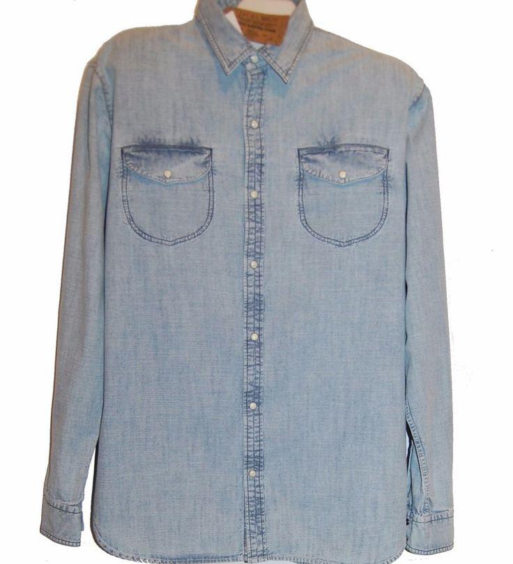 Jachs New York Blue Indigo Jeans Cotton Casual Men's Classic Fit Shirt Sz 2XL  #JachsNewYork