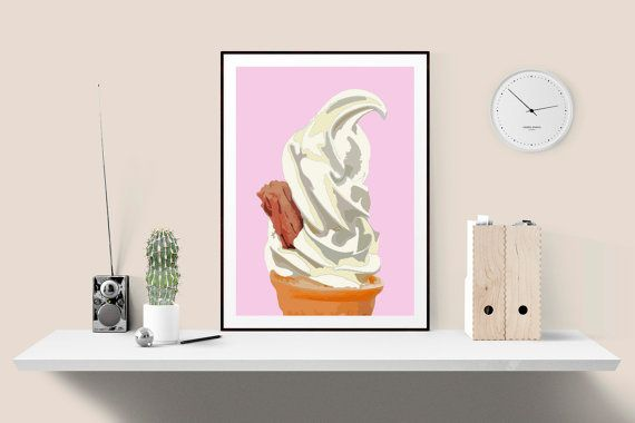 Pink and white pastel modern art print Ice cream cone with