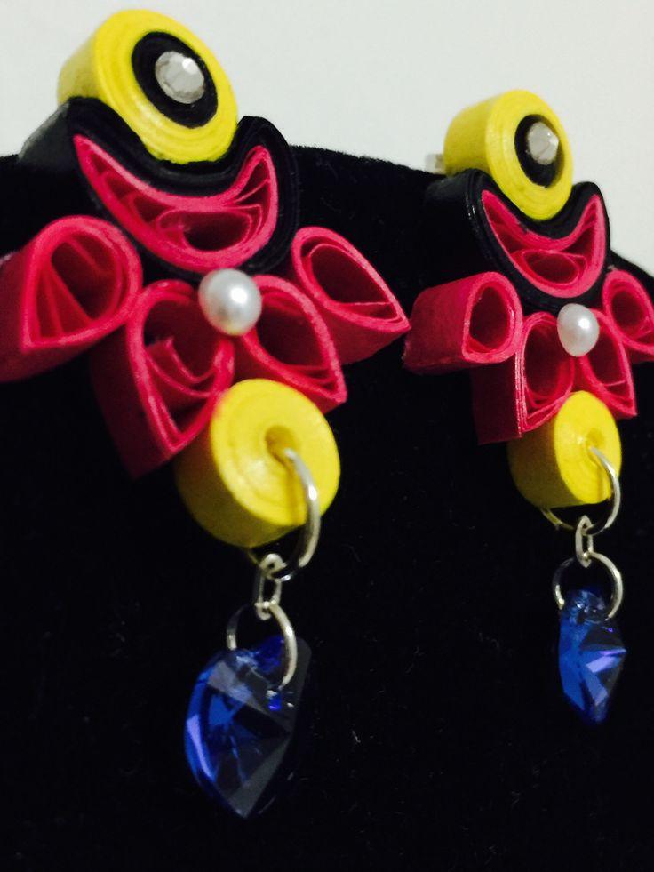 Handmade waterproof quilled earrings material : acid free paper with swarovski  KM Q53