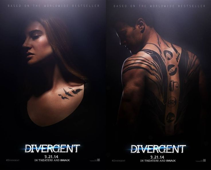 Here are the first official movie posters for Divergent, based on the YA novel by Veronica Roth. Aren't those tattoo designs stunning?!
