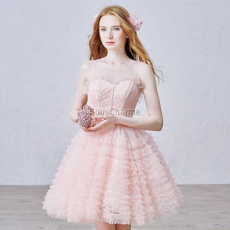 Robe de cocktail pour mariage courte style princesse en dentelle rose clair jupe ample au plissure