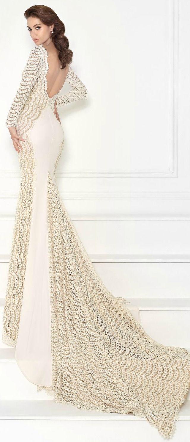 Lace Jersey Long Sleeved Gown by Tarik Ediz
