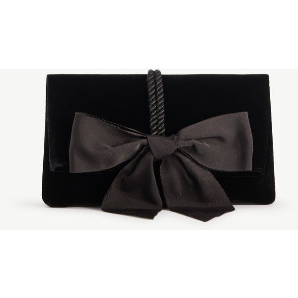 Ann Taylor Velvet Bow Clutch (6,250 PHP) ❤ liked on Polyvore featuring bags, handbags, clutches, black, velvet clutches, bow purse, ann taylor, velvet handbag and velvet purse