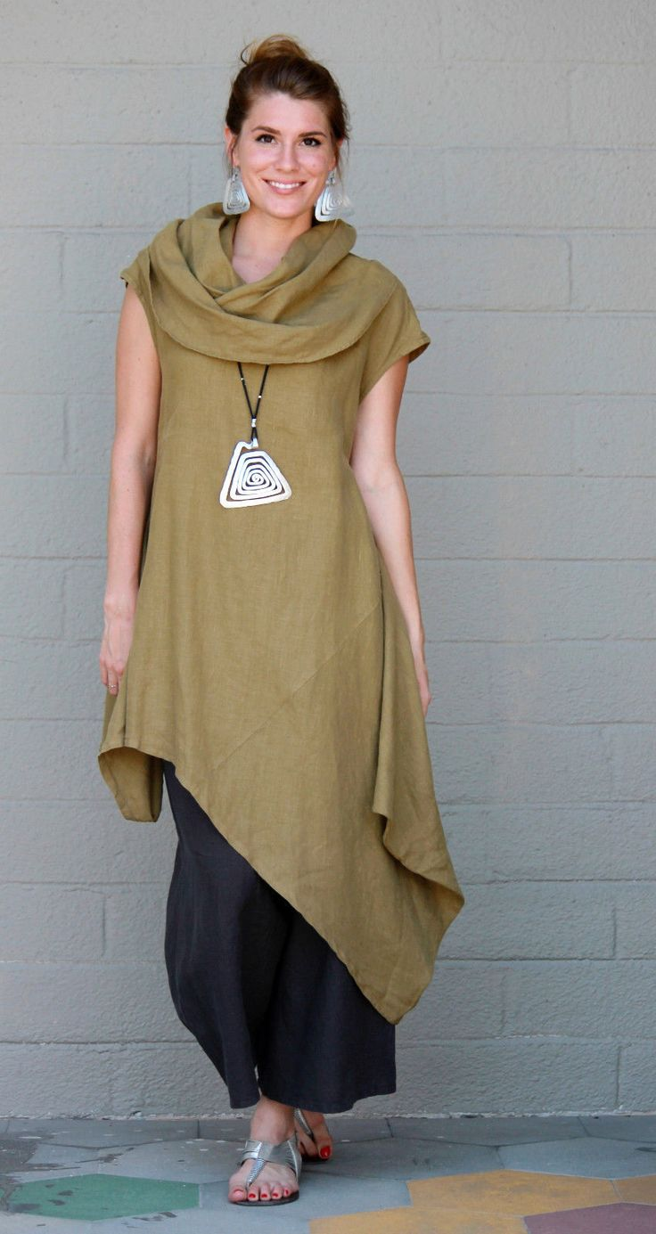 BRYN WALKER Light Linen NOA TUNIC Long Angle Hem Dress S M L XL QUINOA