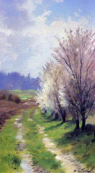 Watercolor spring landscape, by Sergei Toutounov: