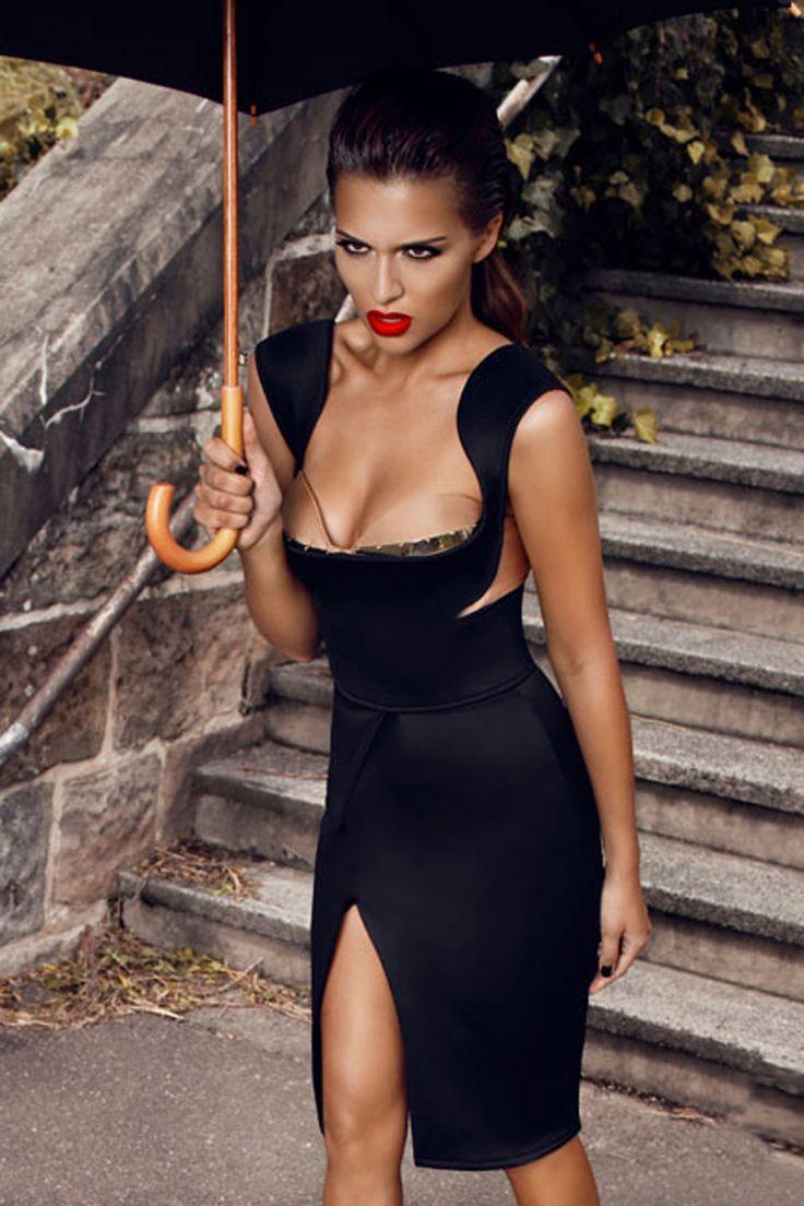Honey Couture - Designer Black Cut Out Bandage Dress