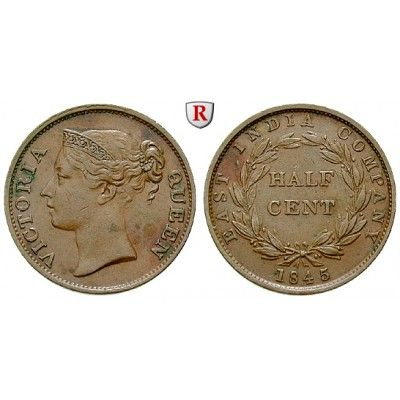 Straits Settlements, Victoria, 1/2 Cent 1845, ss-vz: Victoria 1837-1901. Kupfer-1/2 Cent 1845. East India Company. KM 2; sehr schön… #coins