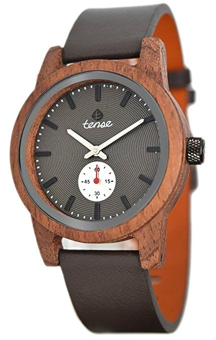 Madera Reloj Tense Mens Leather Hampton Premium b4701r de B - Natural Rose Madera b4701r de B