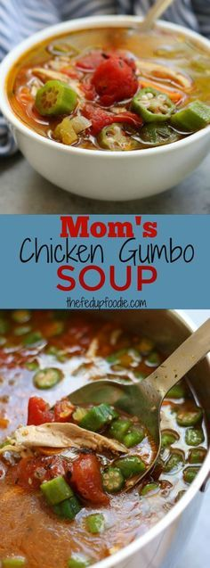 Mom's Chicken Gumbo Soup recipe~ a hearty, rich soup that warms you from the inside out while fighting off the winter colds and flu. A favorite that brings back sweet memories of childhood and is so satisfying. The best winter soup! https://www.thefedupfoodie.com