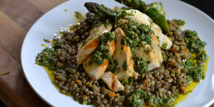 This poached chicken and lentil salad recipe is accompanied by asparagus and a beautiful salsa verde recipe for a punchy finish.