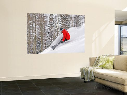 Snowboarder Enjoying Deep Fresh Powder at Brighton Ski Resort Wall Mural by Paul Kennedy at AllPosters.com