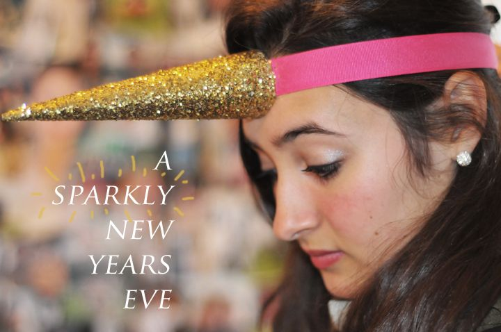 Glittery goodness DIY UNICORN HORN headband. A most excellent craft for an 80s theme party, or the forever young at heart.