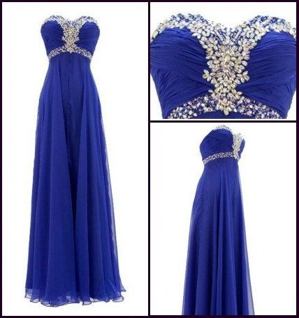 Royal Blue Long Crystals Chiffon Prom Dress Empire by dressseller, $96.00