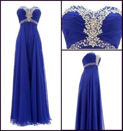 Royal Blue Long Crystals Chiffon Prom Dress Empire by dressseller, $96.00