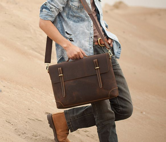 Crazy Horse Leather Briefcase  by Neo Handmade Leather Bags