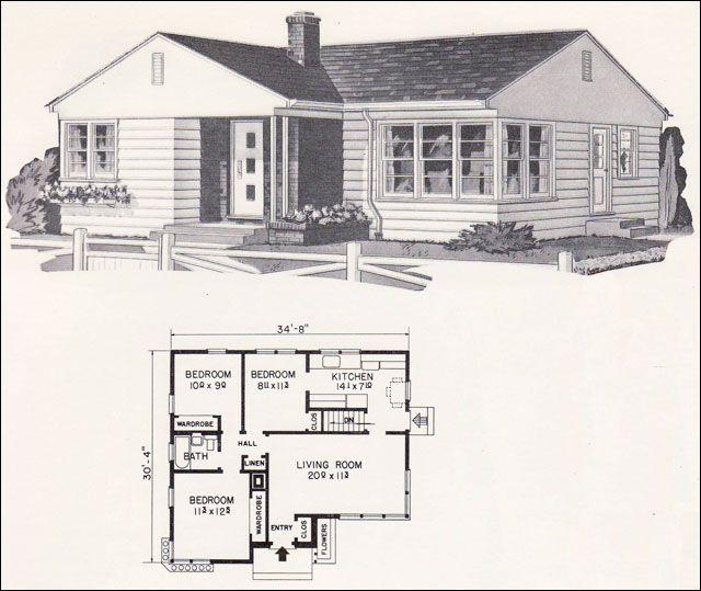 1961 Weyerhauser Design No 5134 Blue Printsarchitectural Drawingsfloor Planshouse