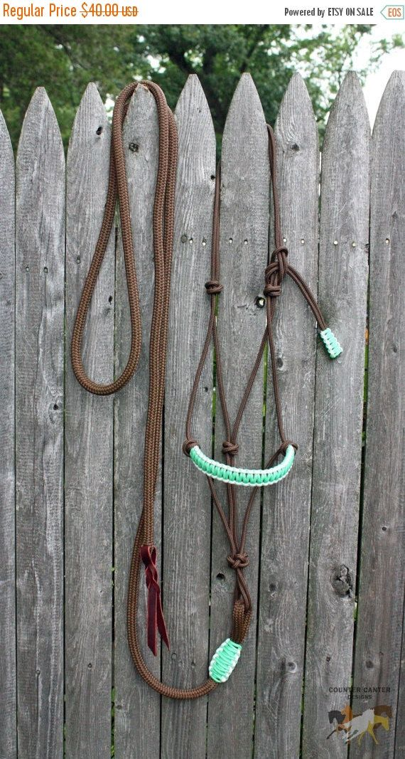 Custom rope halter & matching attached lead rope. 2 or 4 knot rope halter. Lead rope is 10 feet long with leather popper.